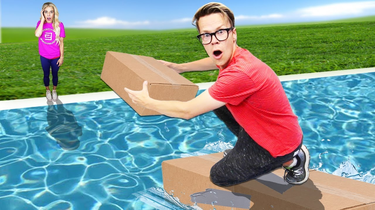 First to Build Bridge Wins $10,000! (Diy Challenge in Backyard Pool) Matt and Rebecca