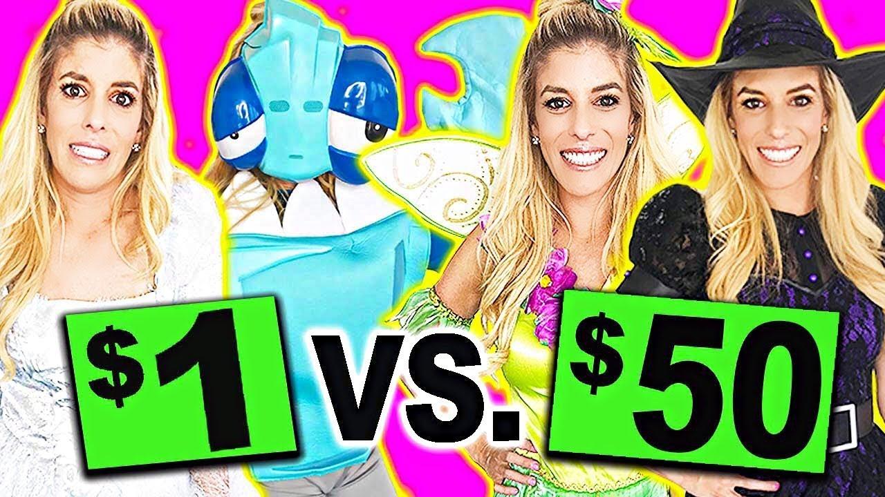 $1 vs $50 Halloween Costumes! (99 Cent Store Challenge)