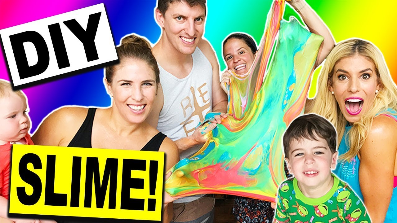 DIY GIANT RAINBOW SLIME WITH MY FAMILY! (NO BORAX)