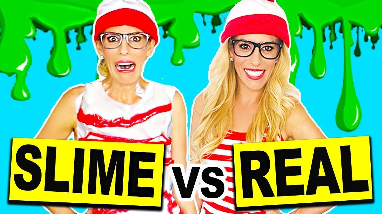 DIY Slime Vs Real Halloween Costumes! (DIY Fluffy Slime, Glitter Slime, No Borax)