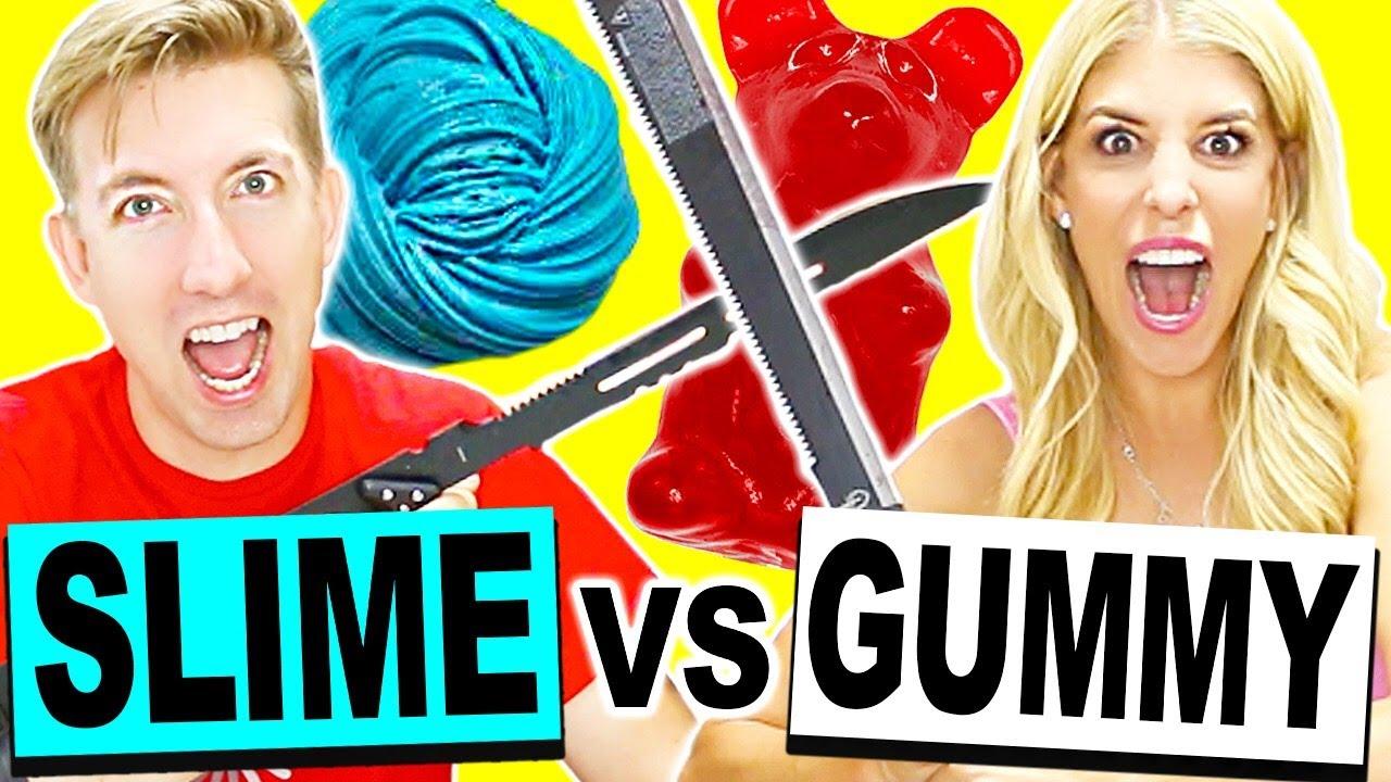 GIANT GUMMY & SLIME VS FRUIT NINJA!