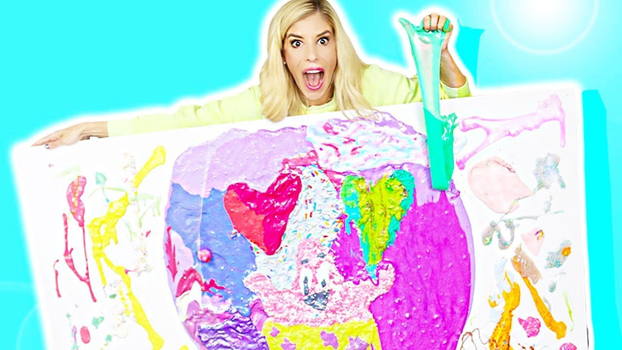 Giant DIY Slime Art from Unboxing Fan Mail! (Fluffy, Glitter, Stretchy, Butter, Crunchy)