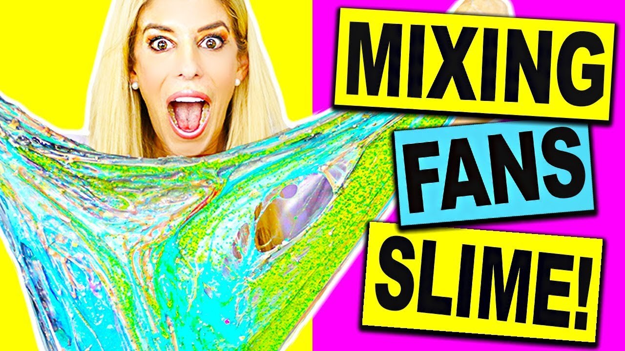 Mixing and Unboxing Fans Slime into One Giant Slime Smoothie (DIY Slime No Borax) #WBSponsored