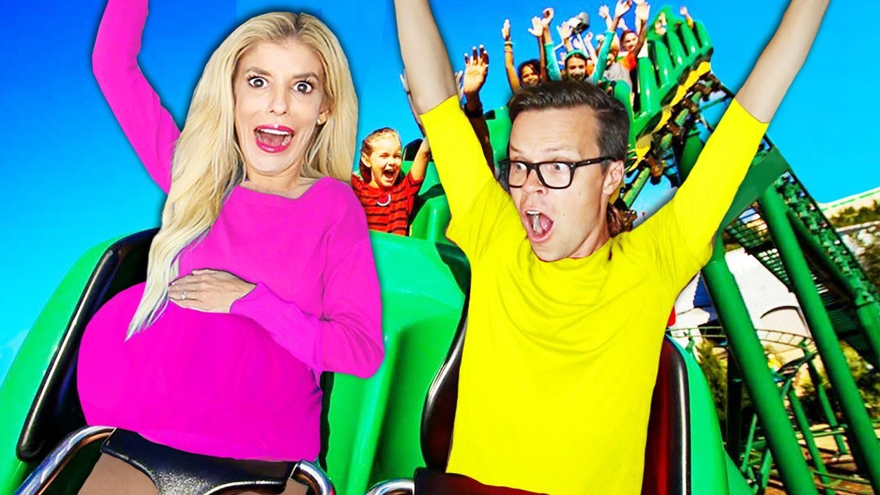 My FIRST Roller Coaster PREGNANT! (Pregnancy Challenge for Mystery Clue) | Rebecca Zamolo