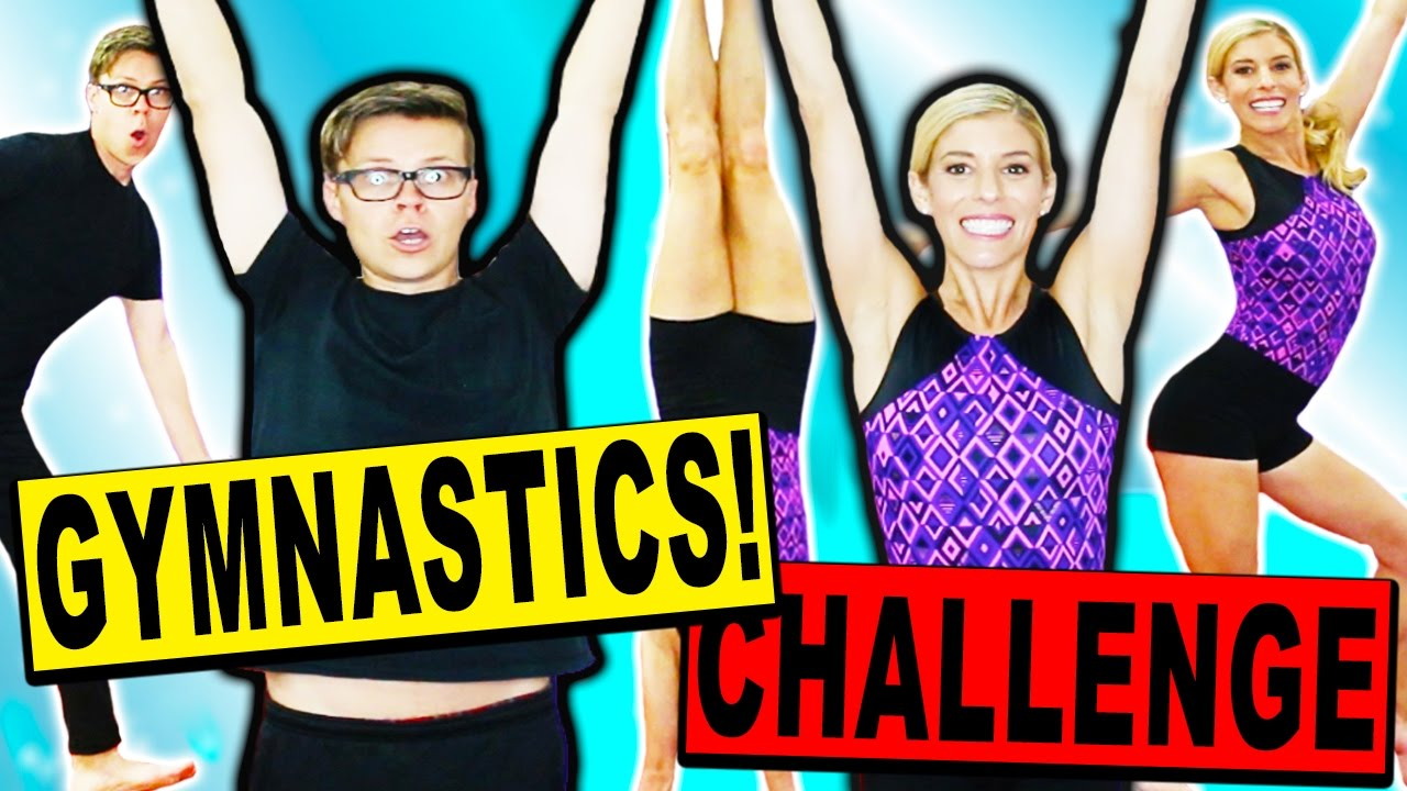 OUR FIRST GYMNASTICS CHALLENGE HUSBAND VS  WIFE! (Learn how to flip and tumble in real life)