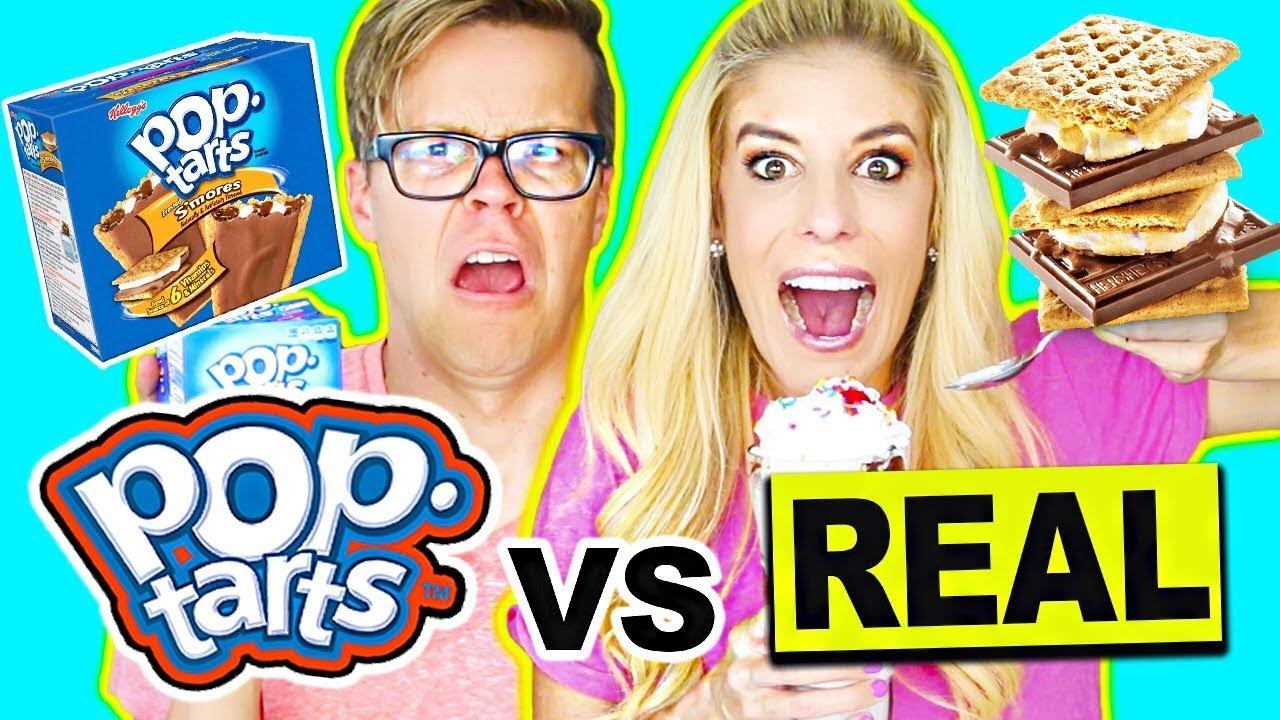 Poptarts Vs Real Food Challenge  (Giant Smoothie) Real Food Vs Gummy Food