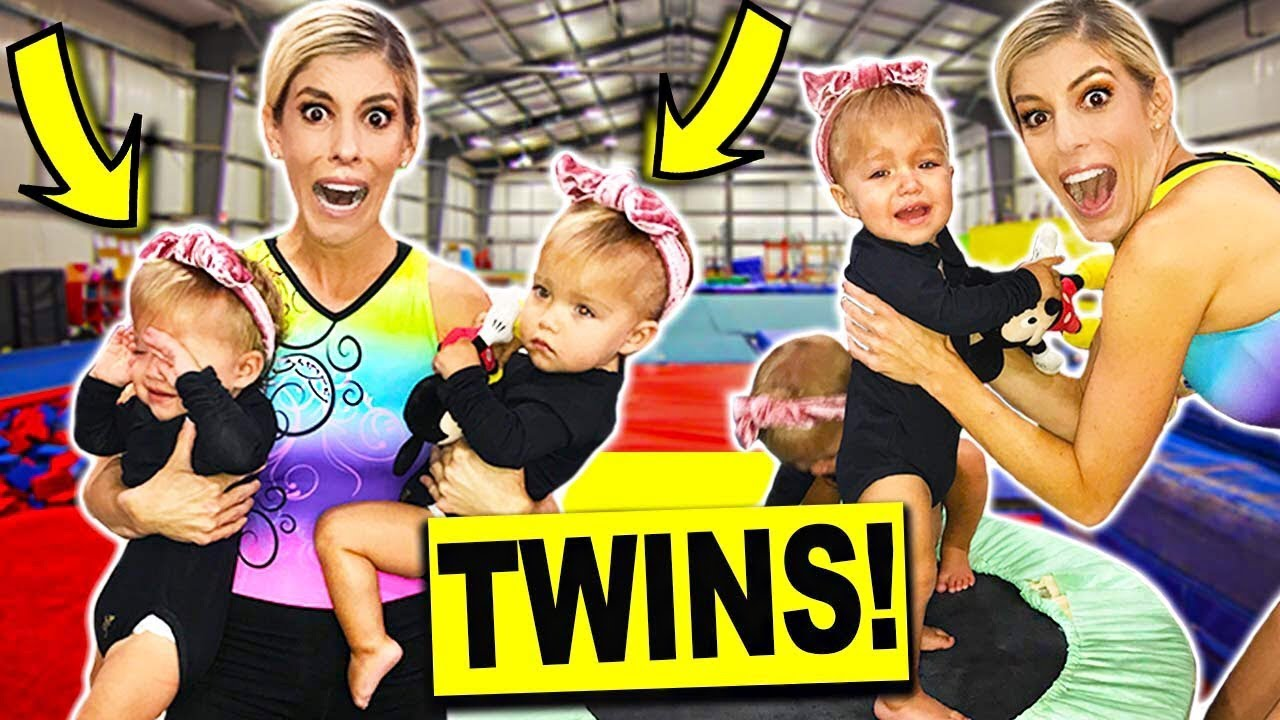 Teaching Gymnastics to Twin Babies! (Adorable)