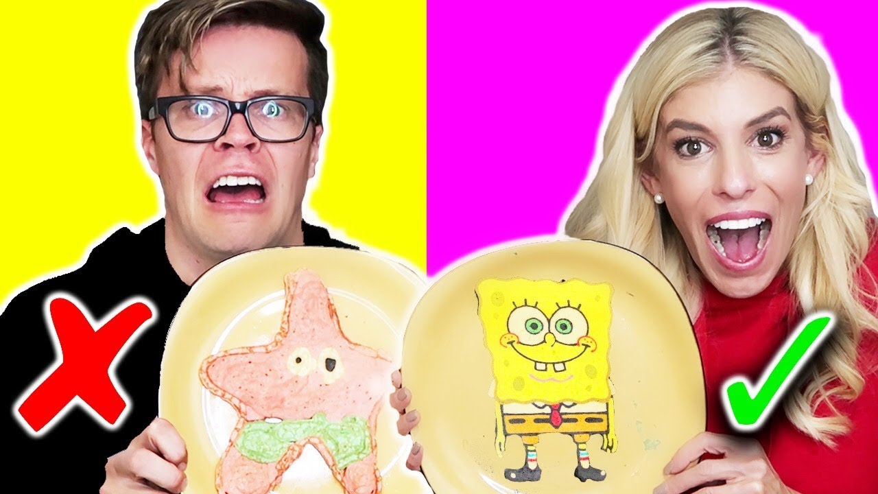 PANCAKE ART CHALLENGE!!! Learn How To Make Sponge Bob Riverdale Stranger Things Food DIY