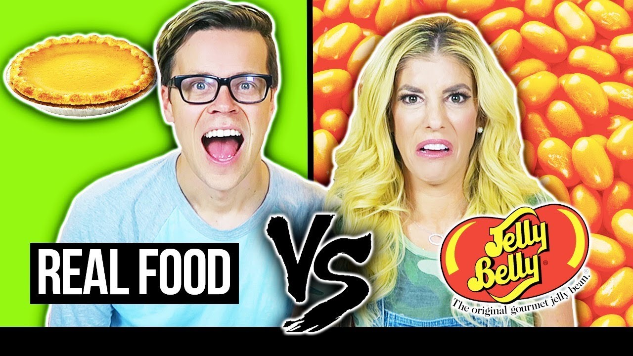 REAL FOOD VS. JELLY BEANS Holiday Food Taste Test Challenge. (Day 346)