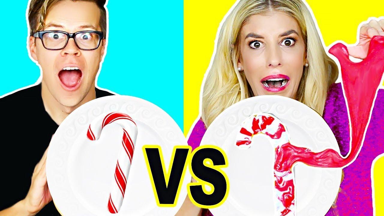 Candy Vs Slime Holiday Challenge! (DIY Fluffy Slime, edible slime, no borax)