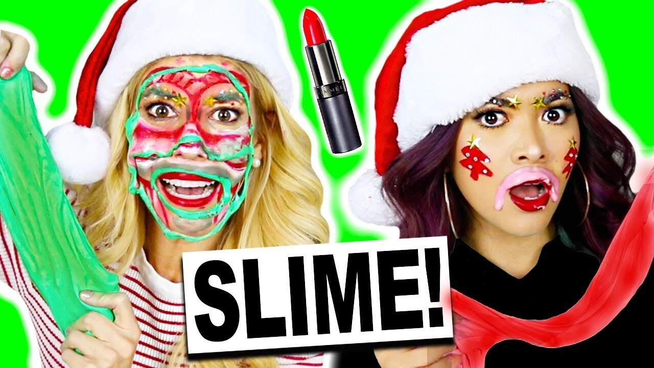 Full Face Using DIY Slime and MakeUp Holiday Challenge! (DIY Fluffy Slime, No Borax)