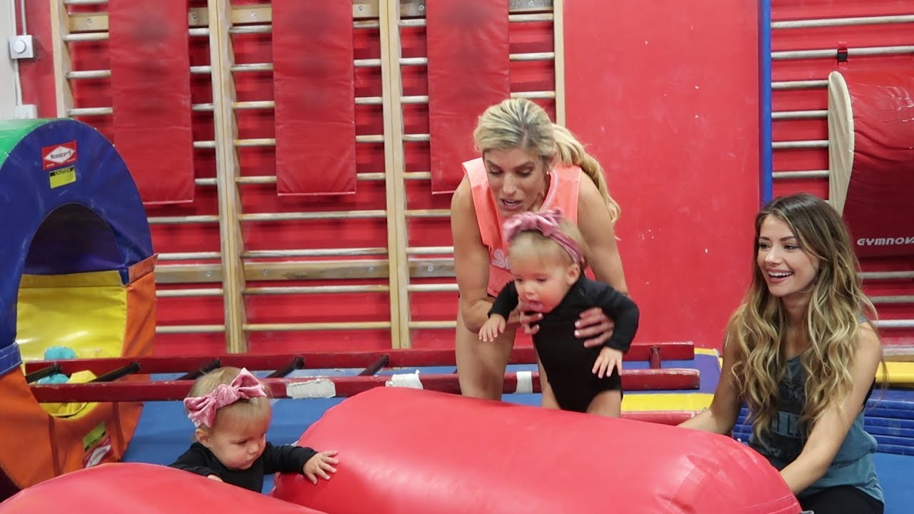 REBECCA DOES GYMNASTICS WITH TWIN 1 YEAR OLDS TAYTUM & OAKLY