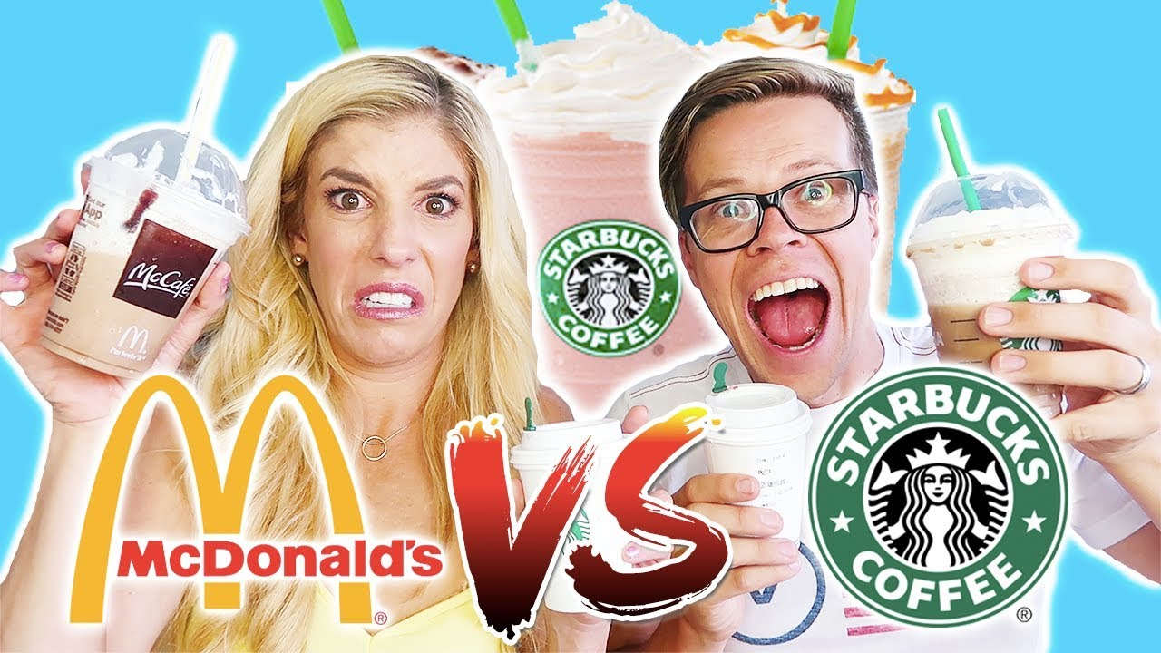 TRYING STARBUCKS VS. MCDONALDS TASTE TEST (DAY 252) CHALLENGE