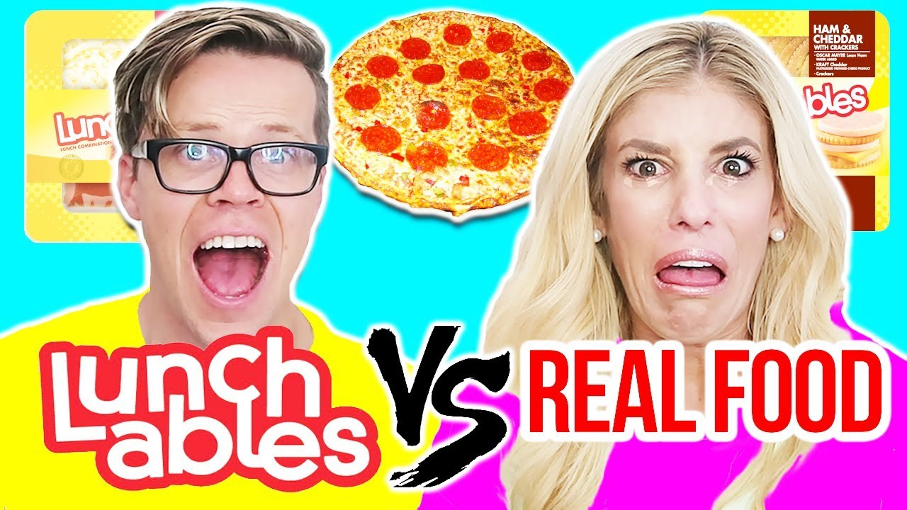 LUNCHABLES VS. REAL FOOD CHALLENGE (FOOD TASTE TEST)