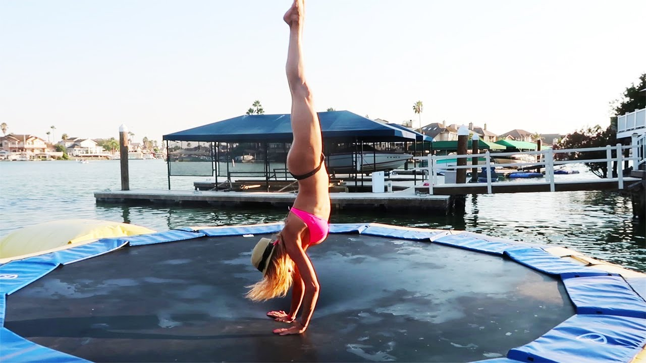 TRYING GYMNASTICS ON A TRAMPOLINE ON A LAKE! (DAY 217)