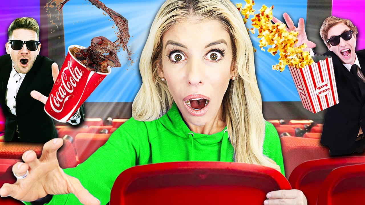 24 Hours Trapped with Best Friend inside  Movie Theater in Our New House! | Rebecca Zamolo