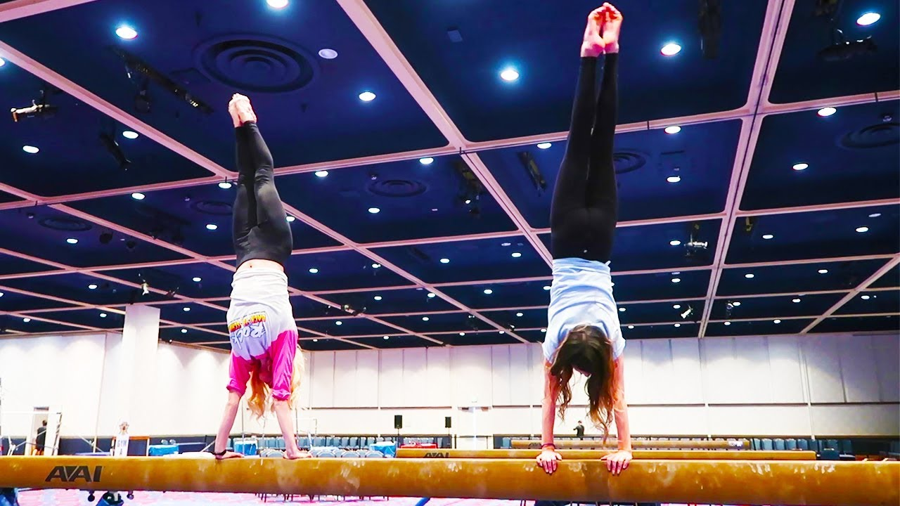 REBECCA AND ANNIE DO HANDSTANDS ON A BEAM CHALLENGE!