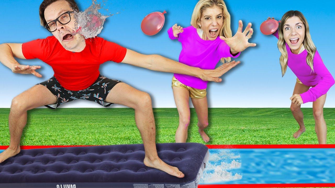 Giant Backyard Slip N Slide Olympics Challenge!  Winner Controls What We Do For 24 Hours