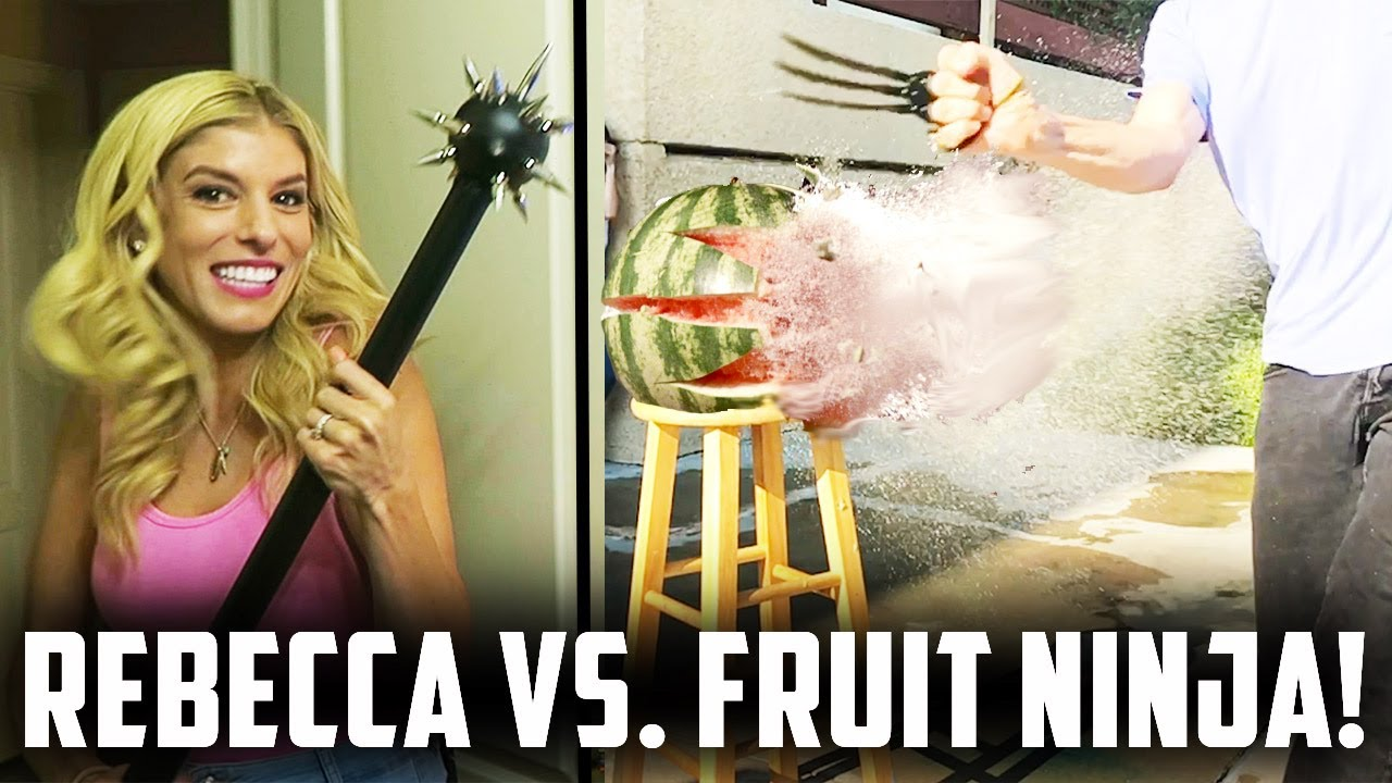 REBECCA TRIES GAME OF THRONE WEAPONS VS  FRUIT NINJA! (Day 191) COMP