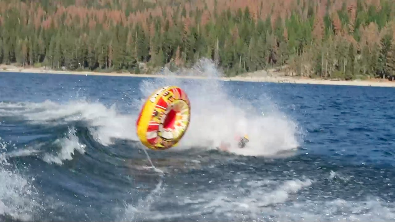 EPIC TUBING LAKE  FAIL!  HUGE FALL!