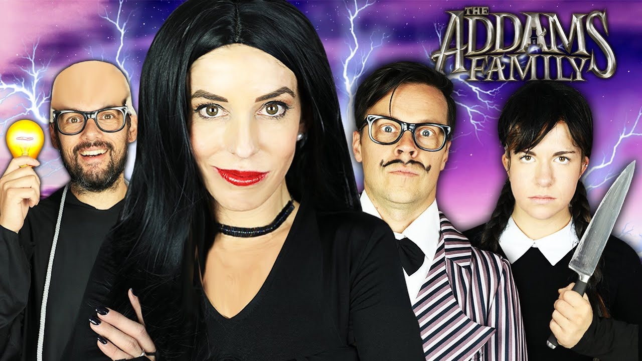 Giant ADDAMS FAMILY Movie in Real Life But in Haunted House! Rebecca Zamolo