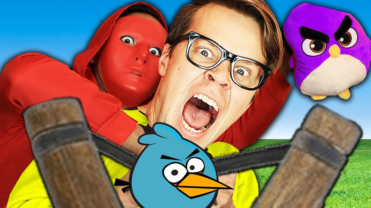 Angry Birds In Real Life Challenge Battle Royale! Matt and Rebecca