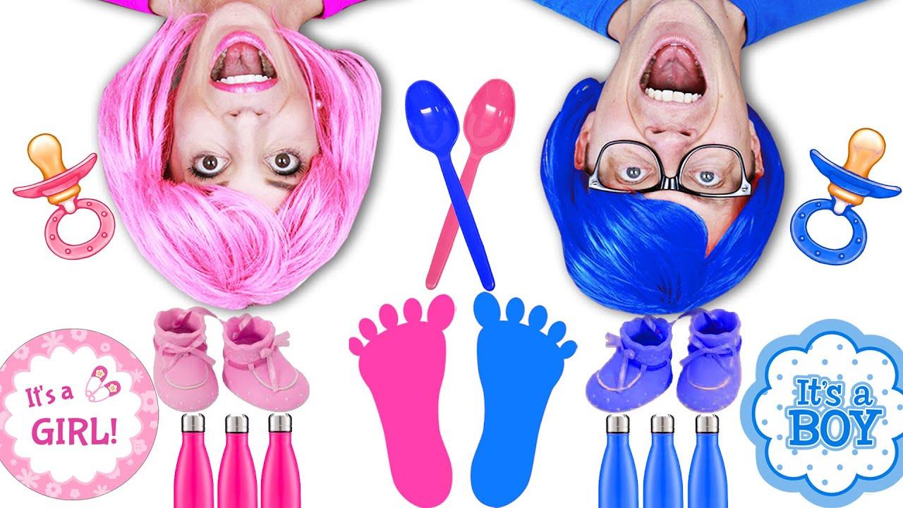 BABY GENDER REVEAL... Pink Vs Blue Challenge - Matt and Rebecca